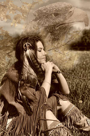 The girl in a suit of the American Indian. Photo executed in a retro style