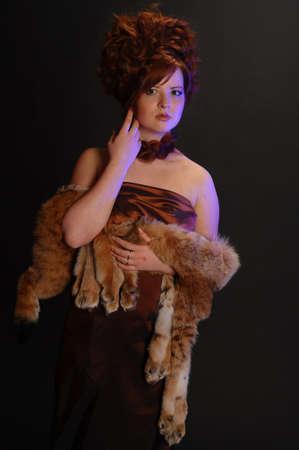 girl and a lynx pelt