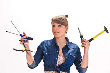 Girl with tools の写真素材