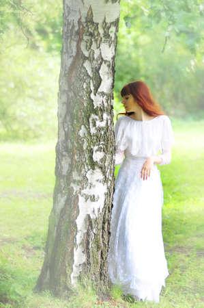 girl in birch photo retro