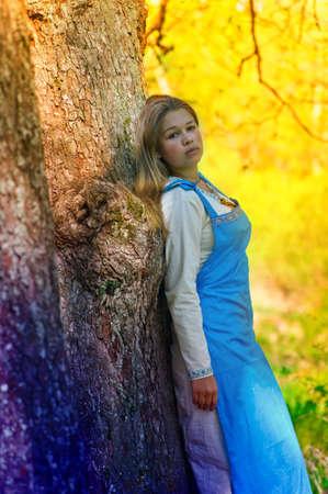 girl in ethnic dress in the park