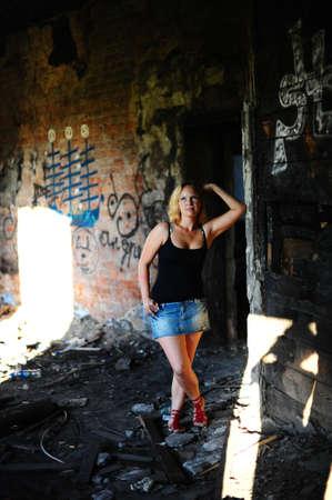 Girl near the ruins