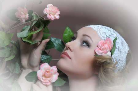 Retro portrait of Pretty woman with roses