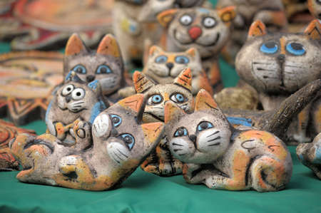 Amusing ceramic figures of catsの写真素材