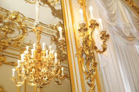 gold chandeliers in the interior