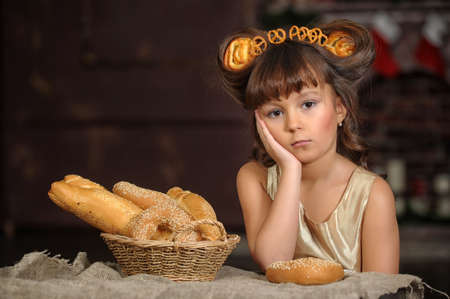 Girl with bread rolls