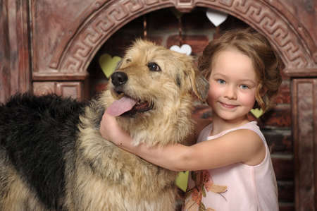 girl with big dog