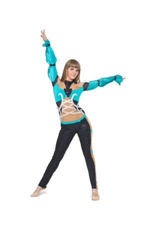 Cool looking girl dances jazz modern dance