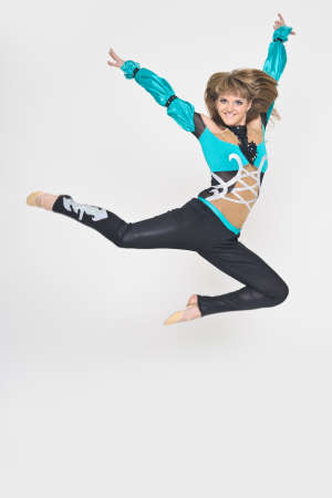 Cool looking girl dances jazz modern dance