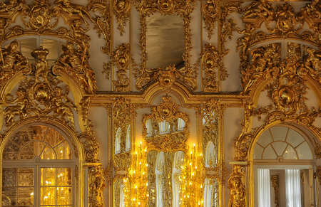 Gold stucco on the walls of the palace.