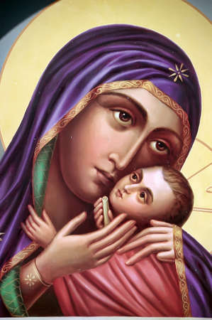The Icon a Mother of God (Mary) and child (Jesus Christ) on gilding wood.
