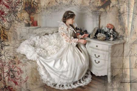 Princess in a white dress retro child.