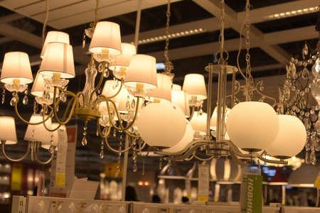 Russia, Saint-Petersburg, 15,03,2015 Various lighting fixtures, lamps and nightlights in the Ikea store