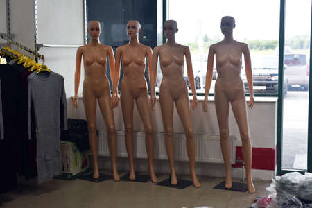 Russia, St. Petersburg, 09,09,2017 Naked mannequins, sale