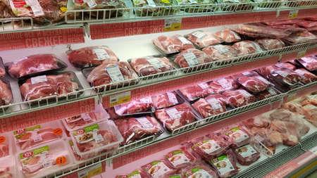 Foto für Russia, St. Petersburg, 14,10,2018 Meat packages in the supermarket - Lizenzfreies Bild