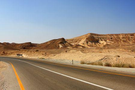Empty road in the Negev desert, Israel