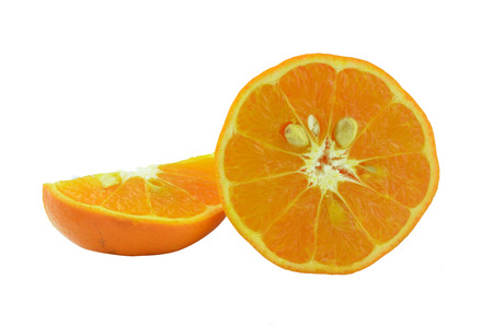 Half of juicy fresh orange isolated on white