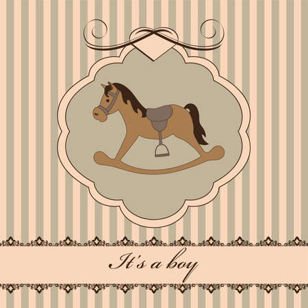 Illustration for Vintage baby boy arrival announcement card - Royalty Free Image