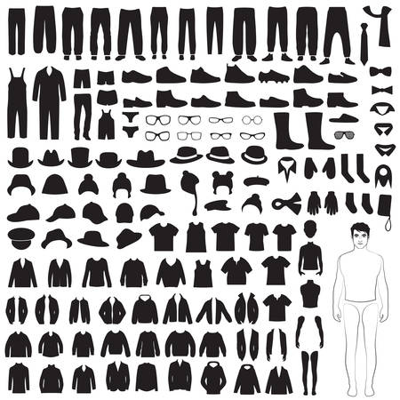 Ilustración de man fashion icons, paper doll, isolated clothing silhouette - Imagen libre de derechos