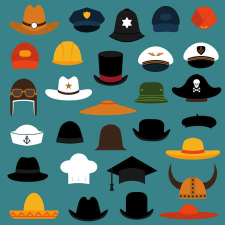 vector set illustration hat and cape, fashion icons set isolated