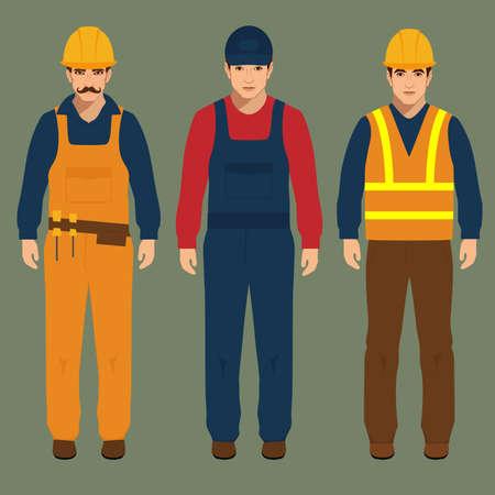 builder, engineer man, vector illustration, cartoon construction worker