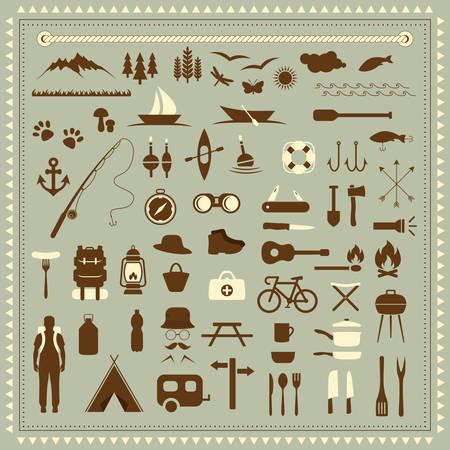 Illustration pour vector set camping icons, travel equipment, tent, compass - image libre de droit