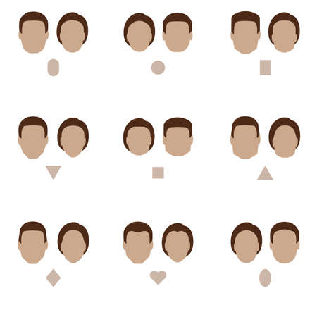 Ilustración de set of flat face shape, vector people icon, head silhouette type - Imagen libre de derechos