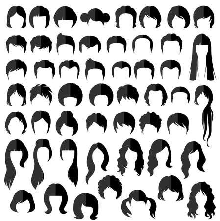 Vektor für woman nad man hair, vector hairstyle silhouette - Lizenzfreies Bild