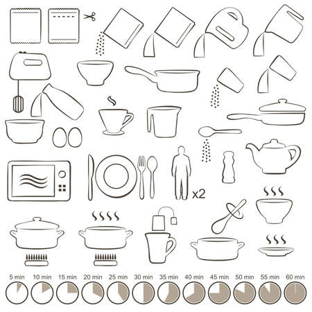 Vektor für vector set icons cooking manual instructions, - Lizenzfreies Bild