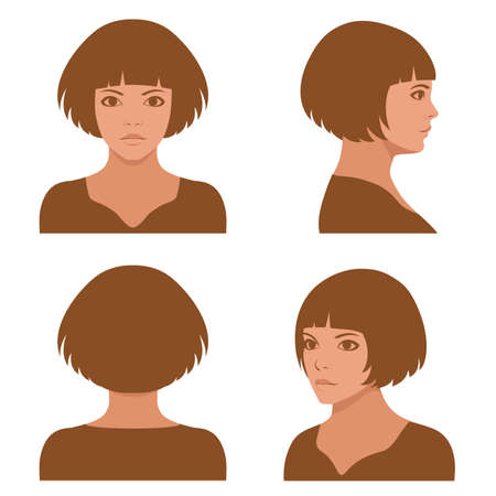 Illustration for Vector girl hairstyles, full face and profile head character - Royalty Free Image