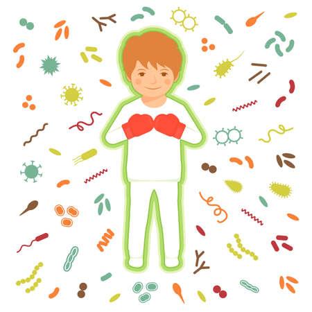 Illustration pour Immune system protection. bacteria, virus infection - image libre de droit
