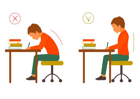 Photo pour Sitting correct and correct body posture, healthy back - image libre de droit