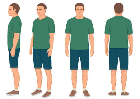 Illustration pour Fashion man front, back and side view - image libre de droit