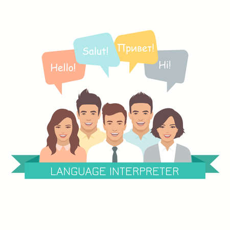 Illustration pour Interpretation with speech bubbles in different languages. Male and female faces avatars in modern design style. Communication, translation, teamwork, assistance and connection vector concept - image libre de droit