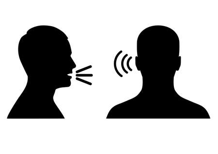 Illustration pour vector illustration of listen and speak icon, voice or sound symbol, man head profile and back - image libre de droit
