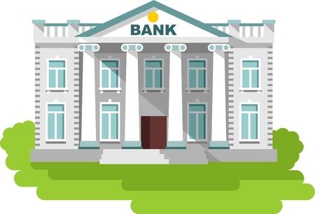 Detailed illustration of bank building on white background