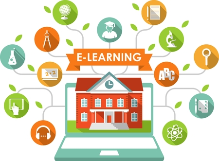 Illustration pour Online e-learning and science concept with computer, school building and education icons in flat style - image libre de droit