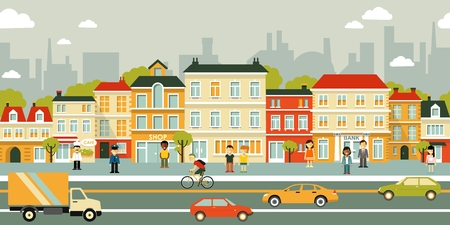 Illustration for Town panoramic cityscape seamless background in flat style - Royalty Free Image