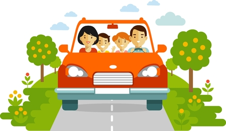 Family in a red car traveling together. Illustration in flat style