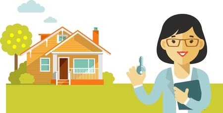Vektor für Realtor woman with key on house background - Lizenzfreies Bild
