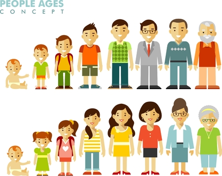 Man and woman aging - baby, child, teenager, young, adult, old people