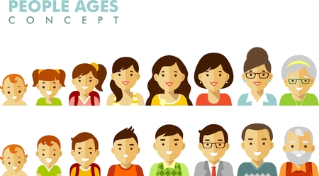 Man and woman aging icons - baby, child, teenager, young, adult, old