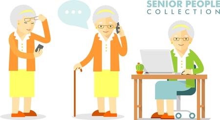 Illustration pour Set of senior man with smartphone and laptop networking - image libre de droit