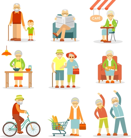 Illustration pour Senior man and woman activities - walking, cooking, shopping, cycling, recreation - image libre de droit