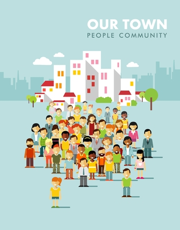 Illustration for Group of different people in community on town background - Royalty Free Image