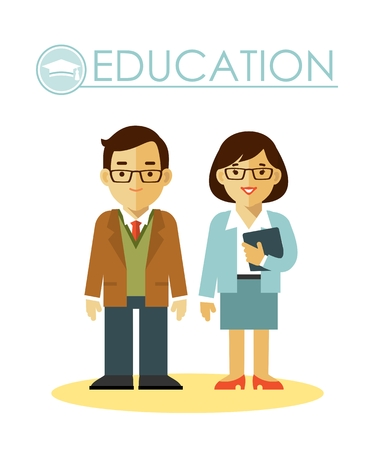 Teacher man and woman in flat style isolated on white background