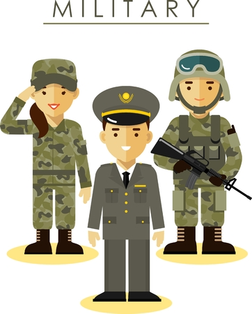Foto per Soldier and officer man and woman in camouflage uniform in flat style - Immagine Royalty Free