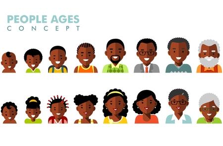 Ilustración de Man and woman african american ethnic aging icons - baby, child, teenager, young, adult, old - Imagen libre de derechos