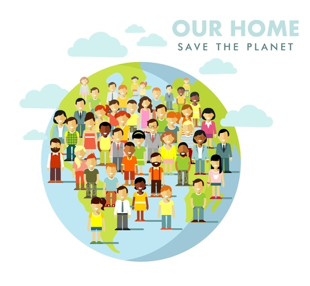 Illustration for Different multi cultural multi ethnicity people crowd on planet Earth background - Royalty Free Image
