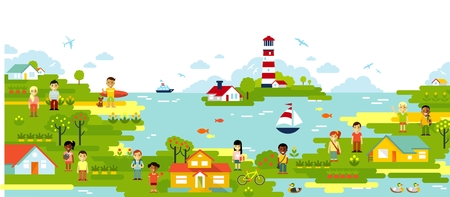 Sea and town village panoramic background in flat style